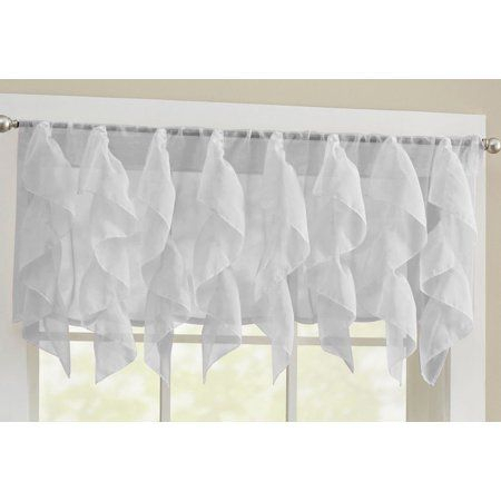 Sheer Voile Vertical Ruffle Window Kitchen Curtain 24 Inch Intended For Chic Sheer Voile Vertical Ruffled Window Curtain Tiers (View 3 of 25)