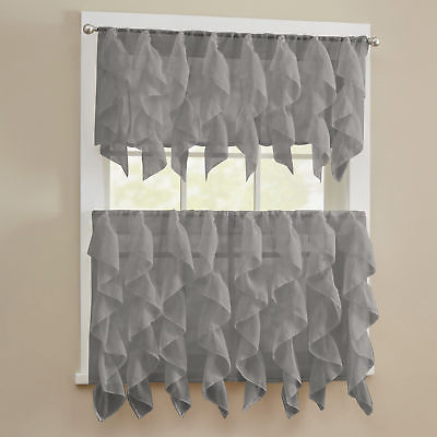 Sheer Voile Vertical Ruffle Window Kitchen Curtain Tiers Or Valance Gray | Ebay Throughout Tailored Valance And Tier Curtains (View 18 of 25)