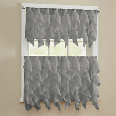 Sheer Voile Vertical Ruffle Window Kitchen Curtain Tiers Or Valance Gray | Ebay With Kitchen Curtain Tiers (View 19 of 25)