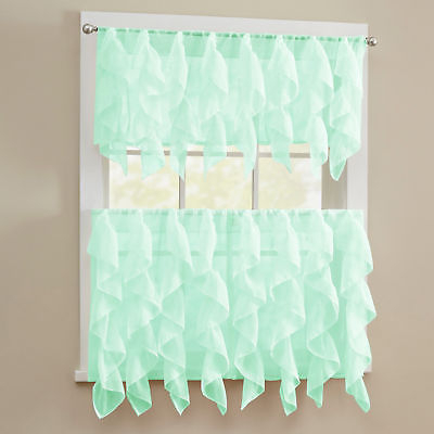 Sheer Voile Vertical Ruffle Window Kitchen Curtain Tiers Or Valance Mint |  Ebay With Maize Vertical Ruffled Waterfall Valance And Curtain Tiers (Image 24 of 25)