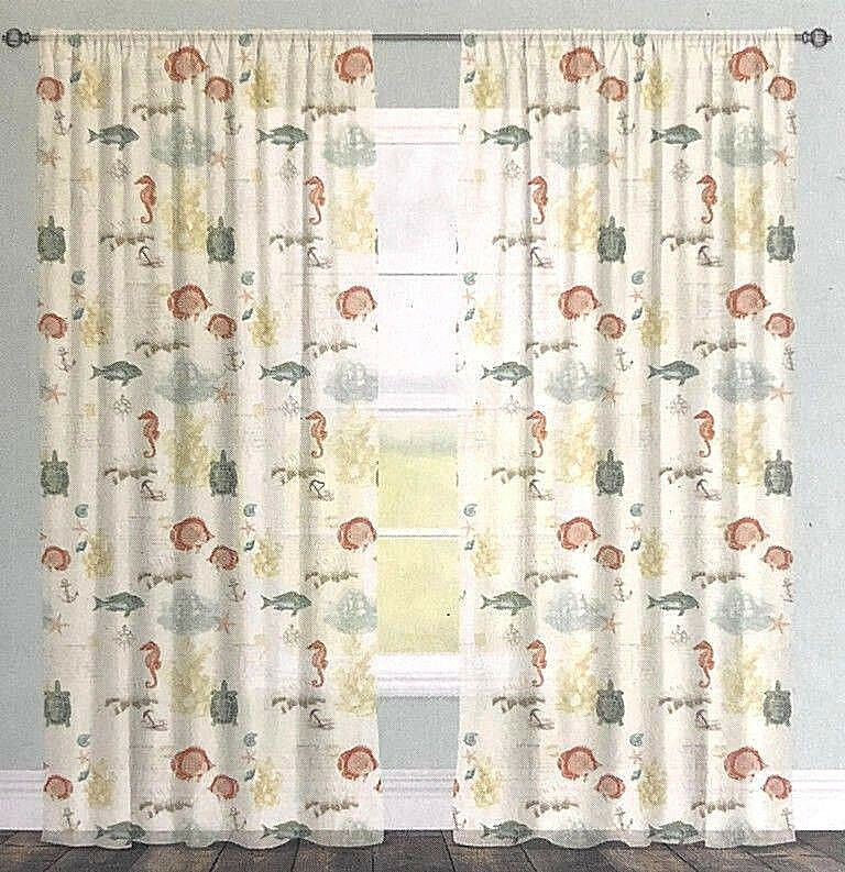 Shells Sea Turtles Nautical Sheer Window Panel Curtains 84 Pertaining To Coastal Tier And Valance Window Curtain Sets (Image 23 of 25)
