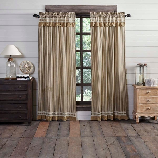 Shop Farmhouse Curtains Vhc Kendra Stripe Panel Pair Rod Pertaining To Linen Stripe Rod Pocket Sheer Kitchen Tier Sets (View 8 of 25)