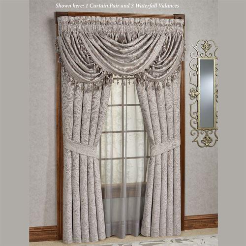 Sicily Silver Gray Medallion Window Treatmentj Queen New York Inside Medallion Window Curtain Valances (View 14 of 25)