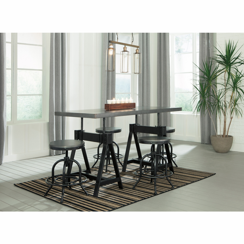 Signature Designashley – Minnona 5 Piece Dining Room Adjustable Height  Set For Most Up To Date James Adjustables Height Extending Dining Tables (Image 22 of 25)