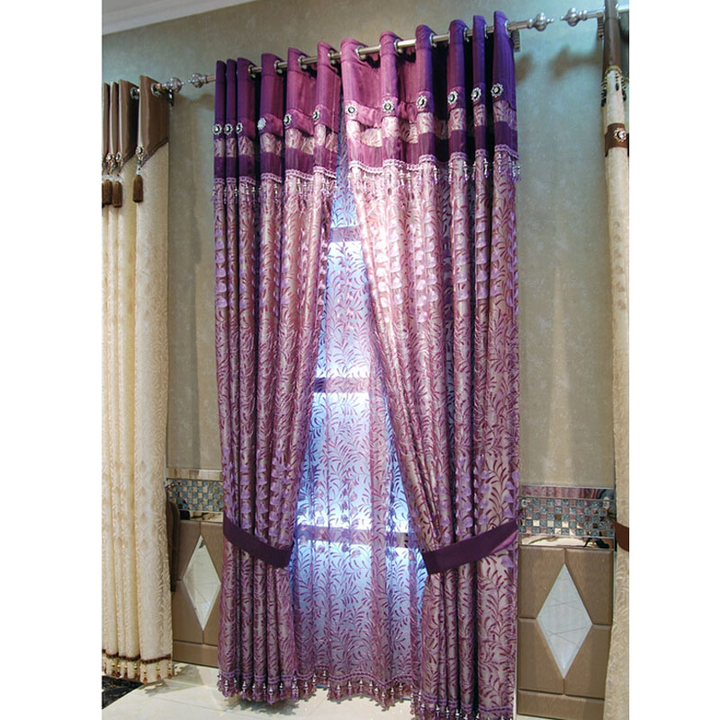 Simple Style Embroidery Floral/leaf Purple Faux Silk Curtains With Regard To Floral Embroidered Faux Silk Kitchen Tiers (View 8 of 25)