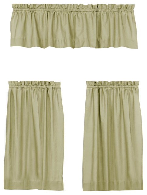 """Solid Cotton Kitchen Tier Curtain & Valance Set, Mountain Moss, 29""""x24"""" Throughout Wallace Window Kitchen Curtain Tiers (View 14 of 25)"""