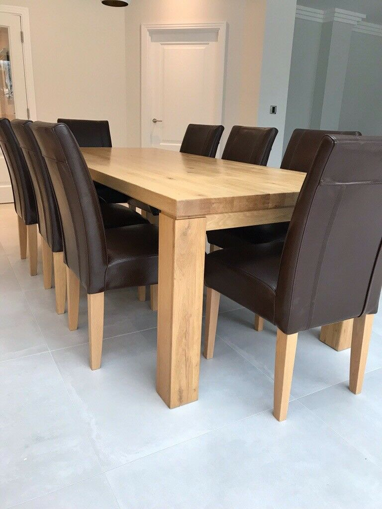 Solid Oak Dining Table And 8 Leather Chairs | In Wheathampstead, Hertfordshire | Gumtree With 2017 Normandy Extending Dining Tables (View 17 of 25)