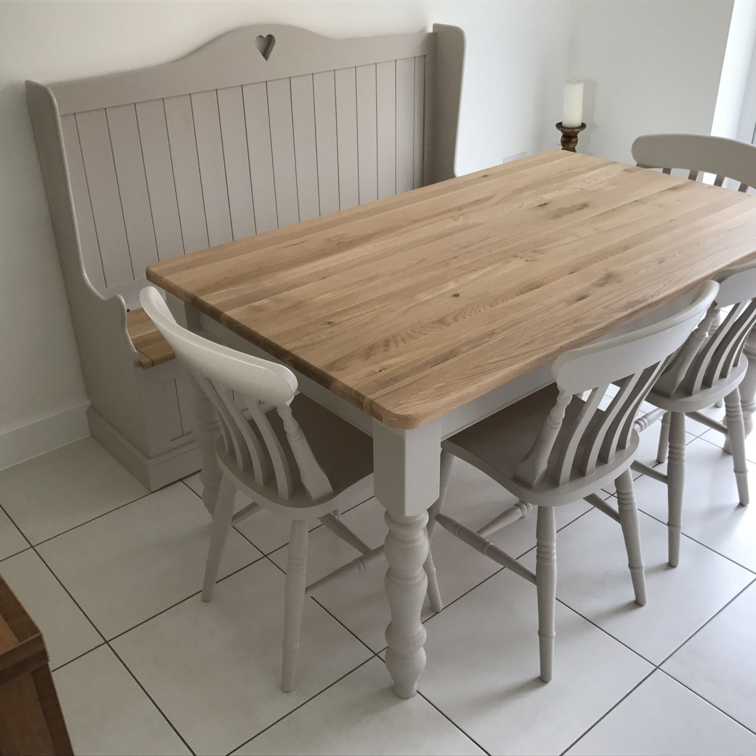Solid Oak Table Set 5X3Ft With Monks Bench In 2019 | Solid With Regard To Newest Hearst Oak Wood Dining Tables (Image 21 of 25)