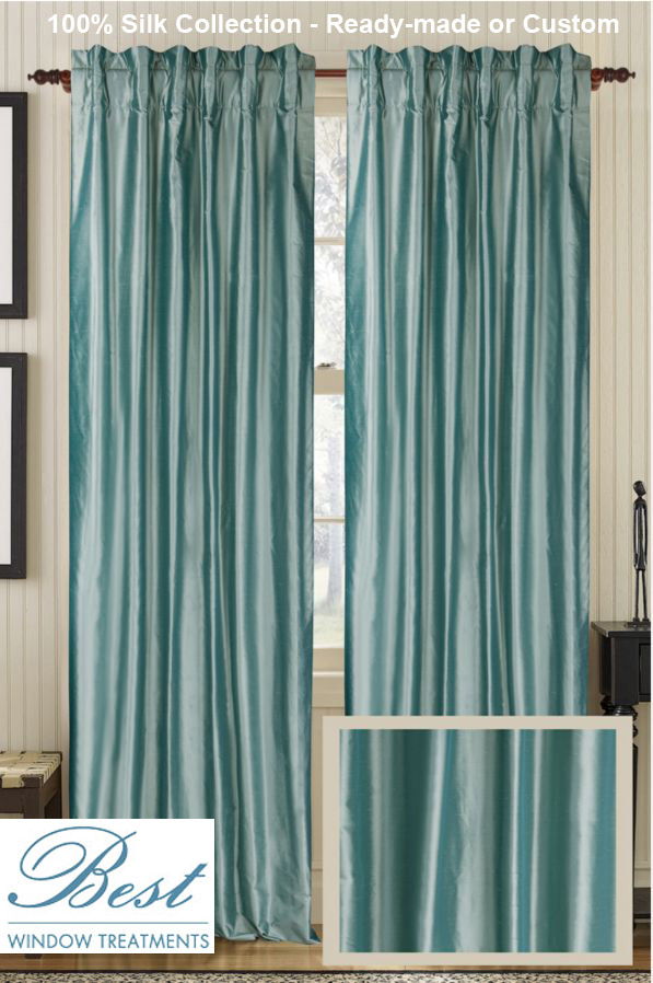 Solid Silk Curtain Panel :ready Made Or Custom   Best Window Treatments In Luxury Collection Kitchen Tiers (View 13 of 25)