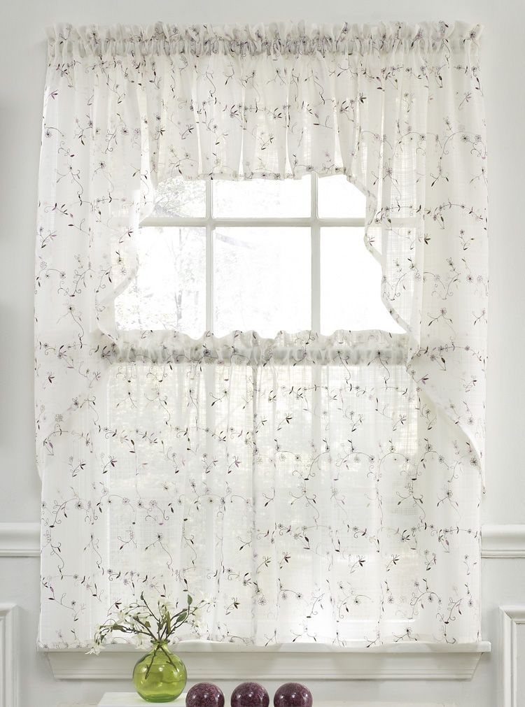 Somerset Curtains Are A Soft And Supple Semi Sheer Georgette For Floral Embroidered Sheer Kitchen Curtain Tiers, Swags And Valances (View 20 of 25)