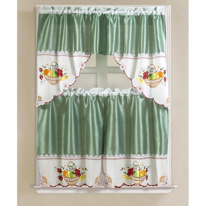 Featured Image of Faux Silk 3 Piece Kitchen Curtain Sets