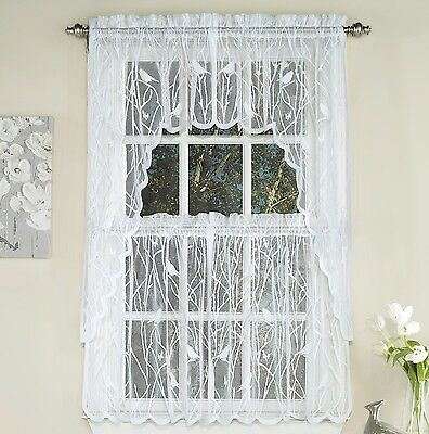 Songbird Sheer Lace Kitchen Curtains White – Tiers, Swags With Sheer Lace Elongated Kitchen Curtain Tier Pairs (View 5 of 25)