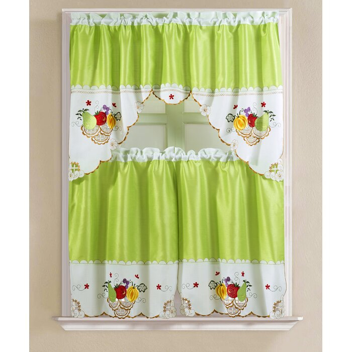 "Soper Faux Silk 3 Piece 60"" Kitchen Curtain Set With Regard To Faux Silk 3 Piece Kitchen Curtain Sets (View 4 of 25)"