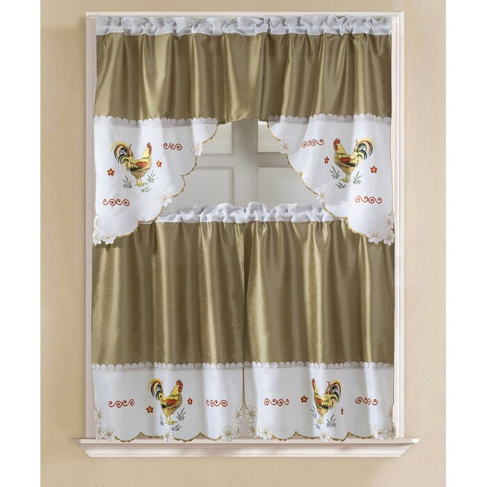 "Sorrentino Faux Silk 3 Piece 60"" Kitchen Curtain Set Pertaining To Faux Silk 3 Piece Kitchen Curtain Sets (View 2 of 25)"