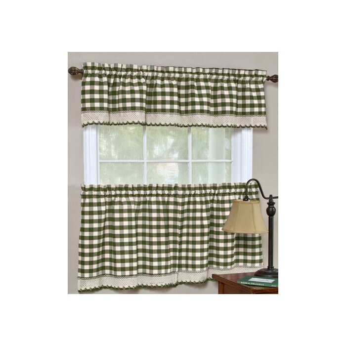 Souri Gingham Curtain Valance And Tier Set Pertaining To Semi Sheer Rod Pocket Kitchen Curtain Valance And Tiers Sets (Image 20 of 25)