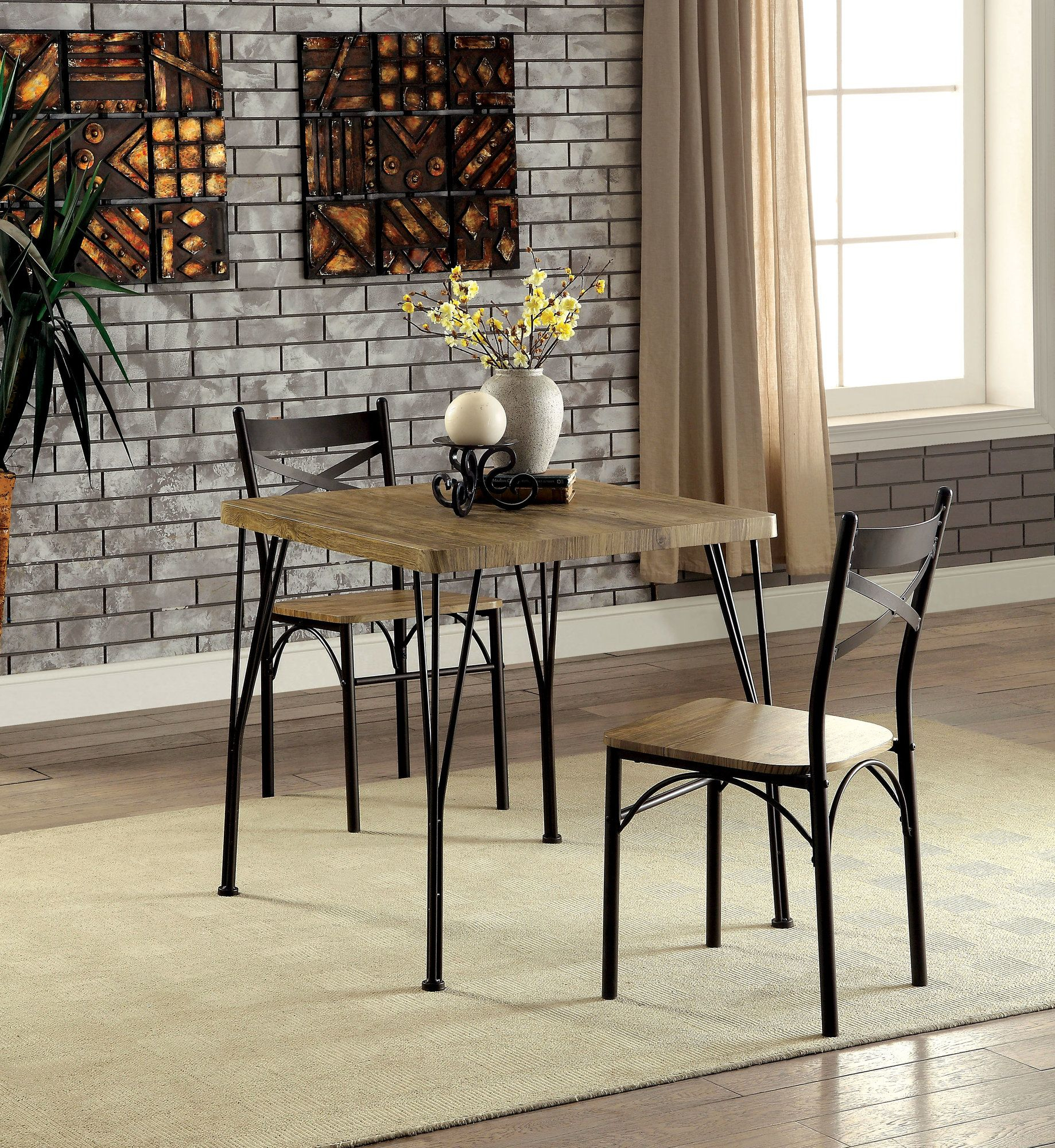 Sparta Industrial 3 Piece Dining Set | Products | Bistro Pertaining To Most Popular Bismark Dining Tables (View 13 of 25)