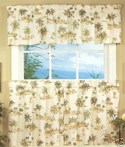 Spice Island Palm Trees 24L Tier And Valance Kitchen Bath Within Tree Branch Valance And Tiers Sets (View 3 of 25)