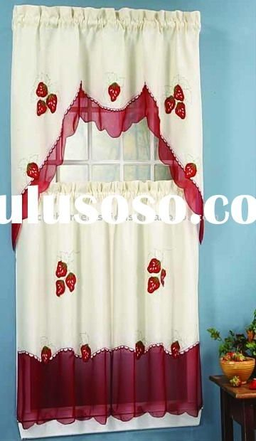Strawberry Kitchen | Applique Strawberry Kitchen Tiers Set Regarding Top Of The Morning Printed Tailored Cottage Curtain Tier Sets (View 17 of 25)