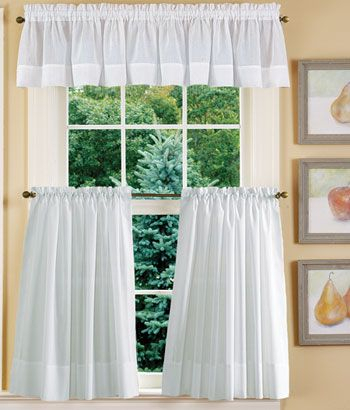 Striped Semi Sheer Tailored Valance | Window Ideas With Tailored Valance And Tier Curtains (View 12 of 25)
