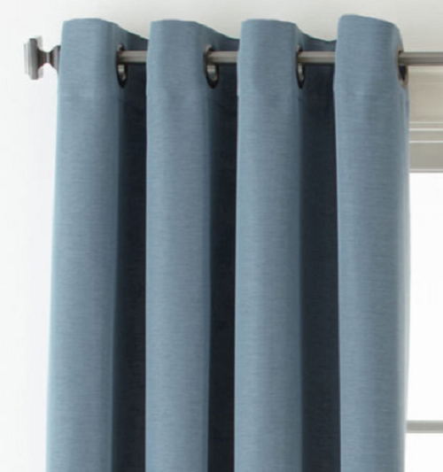 Studio Wallace Blackout Grommet Top Curtain Panel 50Wx84L Steel Blue In Wallace Window Kitchen Curtain Tiers (View 7 of 25)