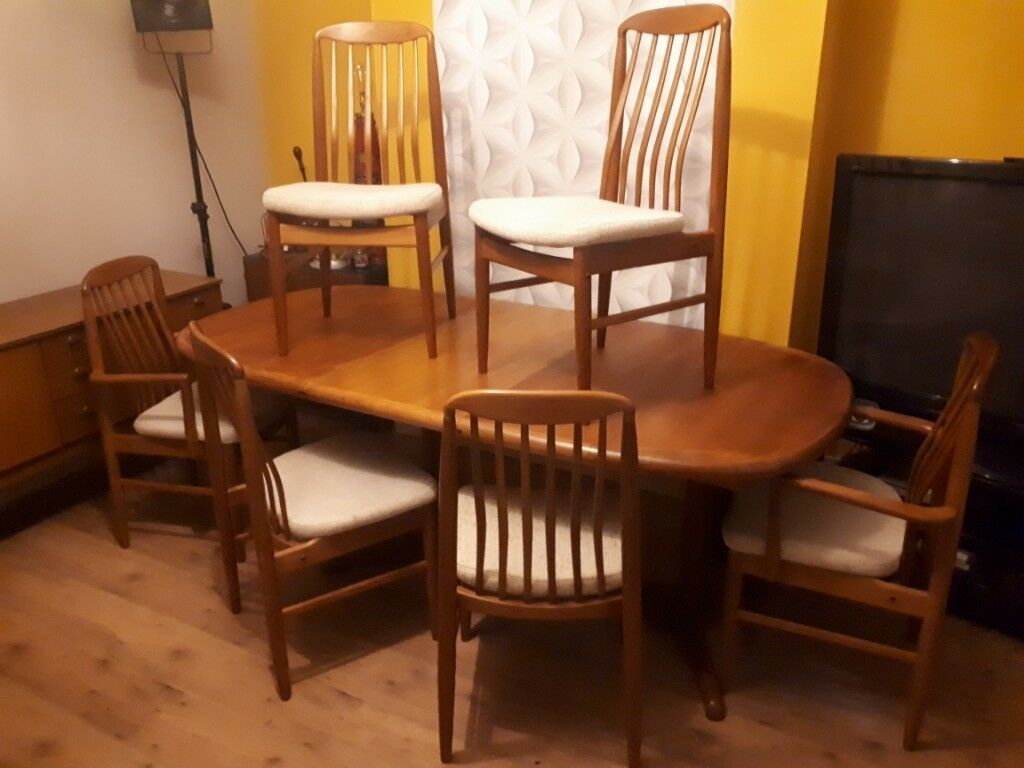 Stunning Mid Century Modern Set Of 6 Benny Linden Chairs And Vintage Teak Extendable Dining Table | In Newport | Gumtree Intended For Most Current Linden Round Pedestal Dining Tables (View 25 of 25)