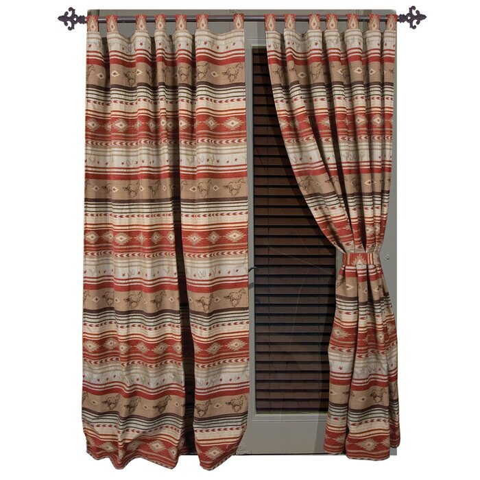 Suhel Striped Tab Top Curtain Panels In Complete Cottage Curtain Sets With An Antique And Aubergine Grapvine Print (View 3 of 25)