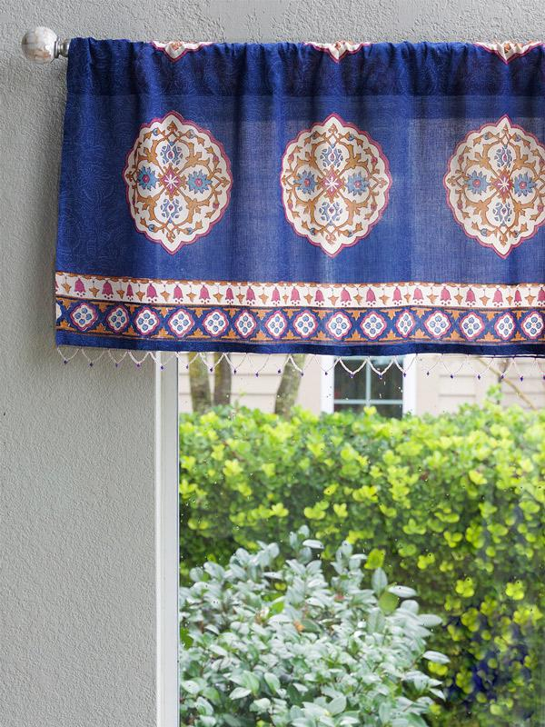 Sultans Palace ~ Royal Blue Moroccan Medallion Window Valance In Medallion Window Curtain Valances (View 15 of 25)