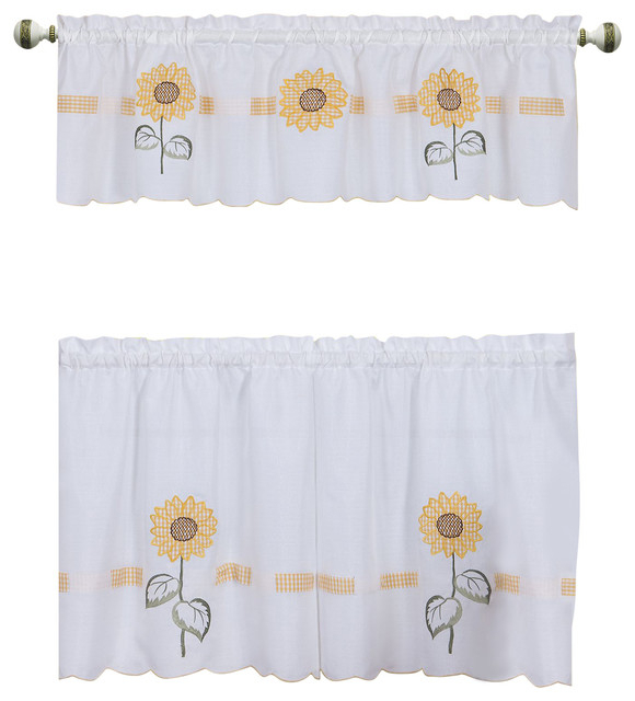 """Sun Blossoms Embellished Tier And Valance Window Curtain Set, 56""""x36"""", Multi In Sunflower Cottage Kitchen Curtain Tier And Valance Sets (View 17 of 25)"""