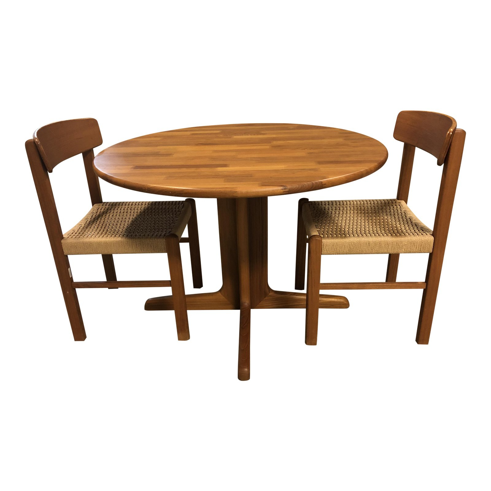 Sun Cabinet – Wood Round Table + Two Side Chairs Original Throughout Most Up To Date Linden Round Pedestal Dining Tables (View 12 of 25)