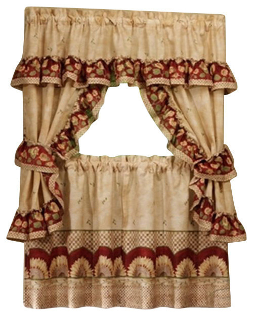"""Sunflower Cottage Set – 57""""x36"""" Tier Pair/57""""x36"""" Ruffled Topper, Antique With Sunflower Cottage Kitchen Curtain Tier And Valance Sets (View 4 of 25)"""