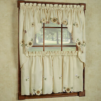 Sunflower Cream Embroidered Kitchen Curtains – Tiers Valance Or Swag | Ebay For Embroidered Ladybugs Window Curtain Pieces (View 10 of 25)