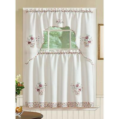 Sunflower Cream Embroidered Kitchen Curtains – Tiers Valance Pertaining To Embroidered Ladybugs Window Curtain Pieces (View 25 of 25)