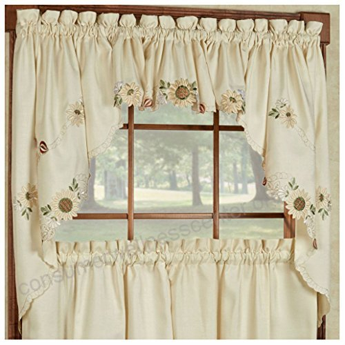 Sunflower Cream Embroidered Kitchen Curtains – Tiers Valance With Regard To Coffee Embroidered Kitchen Curtain Tier Sets (View 5 of 25)