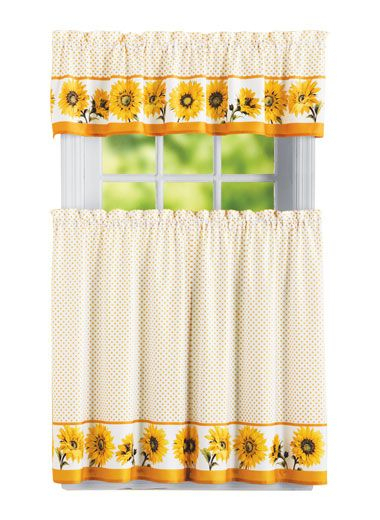 Sunflower Curtain Zoom In In 2019 | Sunflower Kitchen Regarding Sunflower Cottage Kitchen Curtain Tier And Valance Sets (View 10 of 25)
