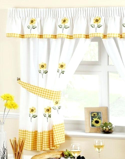 Sunflower Curtains Kitchen Curtain Valances Near Me For Inside Traditional Tailored Window Curtains With Embroidered Yellow Sunflowers (View 10 of 25)