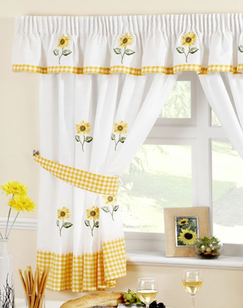 Sunflower Kitchen Curtain | Kitchen Curtains, Curtains Uk Inside Embroidered 'coffee Cup' 5 Piece Kitchen Curtain Sets (View 23 of 25)