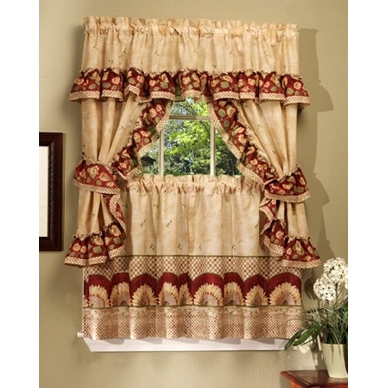 Sunflower Printed Kitchen Curtain With Attached Valance – 57X36 Inches – N/a With Regard To Window Curtains Sets With Colorful Marketplace Vegetable And Sunflower Print (View 2 of 25)
