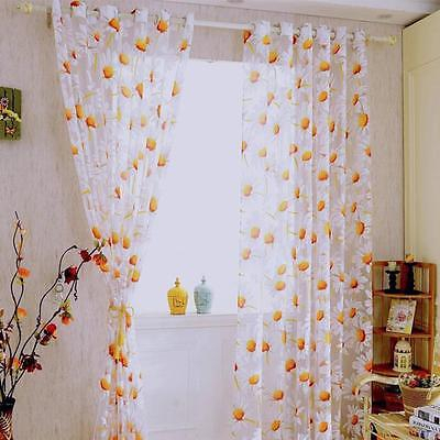 Sunflower Sheer Curtain Panel Decorative Window Gauze Fabric For Living Room | Ebay Regarding Traditional Tailored Window Curtains With Embroidered Yellow Sunflowers (View 18 of 25)