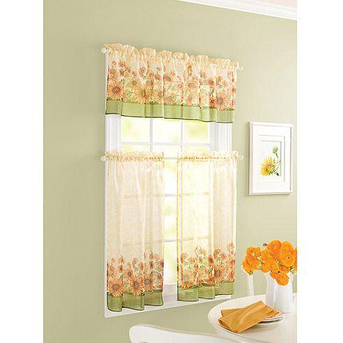 Sunflower Theme Kitchen Curtains Windows Walmart In 2019 In Sunflower Cottage Kitchen Curtain Tier And Valance Sets (View 18 of 25)