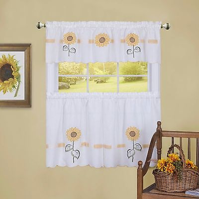 Sunflower Tier & Swag Set Complete Kitchen Curtain Sun Blossom | Ebay Inside Traditional Tailored Window Curtains With Embroidered Yellow Sunflowers (View 2 of 25)