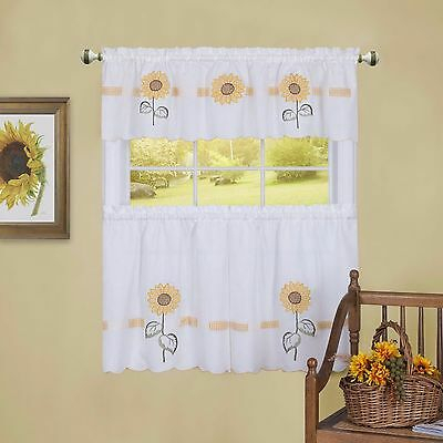 Sunflower Tier & Swag Set Complete Kitchen Curtain Sun Blossom | Ebay Regarding Sunflower Cottage Kitchen Curtain Tier And Valance Sets (View 14 of 25)