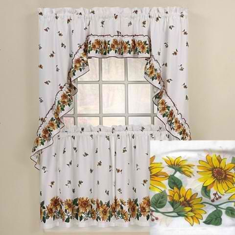 Sunflowers Kitchen Curtains Swag Set | Kitchen Curtains With Traditional Tailored Window Curtains With Embroidered Yellow Sunflowers (View 5 of 25)