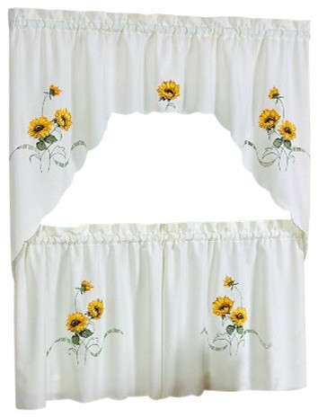 "Sunshine Tier And Swag Set, Ivory/cream, Set Of 2, 36"" Inside Chardonnay Tier And Swag Kitchen Curtain Sets (View 8 of 25)"