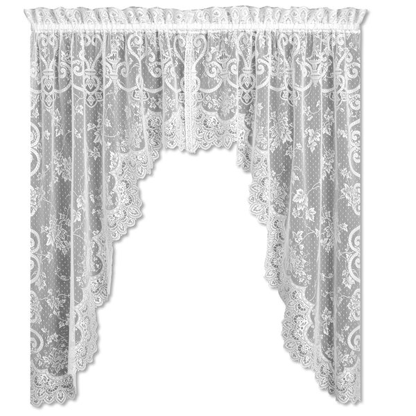 Swag And Tier Curtains | Wayfair Regarding Traditional Tailored Tier And Swag Window Curtains Sets With Ornate Flower Garden Print (View 3 of 25)