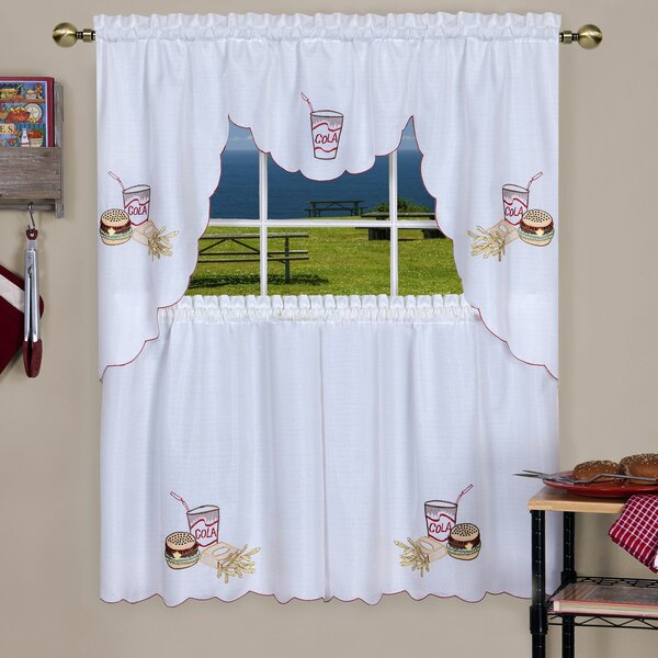Swag And Tier Sets | Wayfair Throughout Traditional Tailored Tier And Swag Window Curtains Sets With Ornate Flower Garden Print (View 23 of 25)
