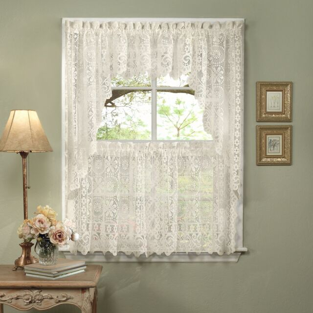 Sweet Home Collection 5 Pc Kitchen Curtain Set, Swag Pair, Valance, Choice Of With Regard To Cotton Lace 5 Piece Window Tier And Swag Sets (View 2 of 25)
