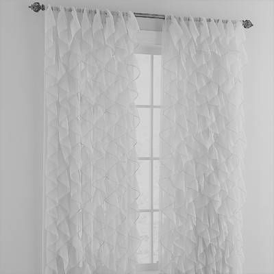 Sweet Home Collection Chic Sheer Voile Vertical Ruffle With Vertical Ruffled Waterfall Valances And Curtain Tiers (Image 21 of 25)