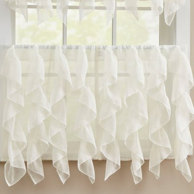 Sweet Home Collection Elegant Sheer Voile Vertical Ruffle Regarding Silver Vertical Ruffled Waterfall Valance And Curtain Tiers (Image 23 of 25)