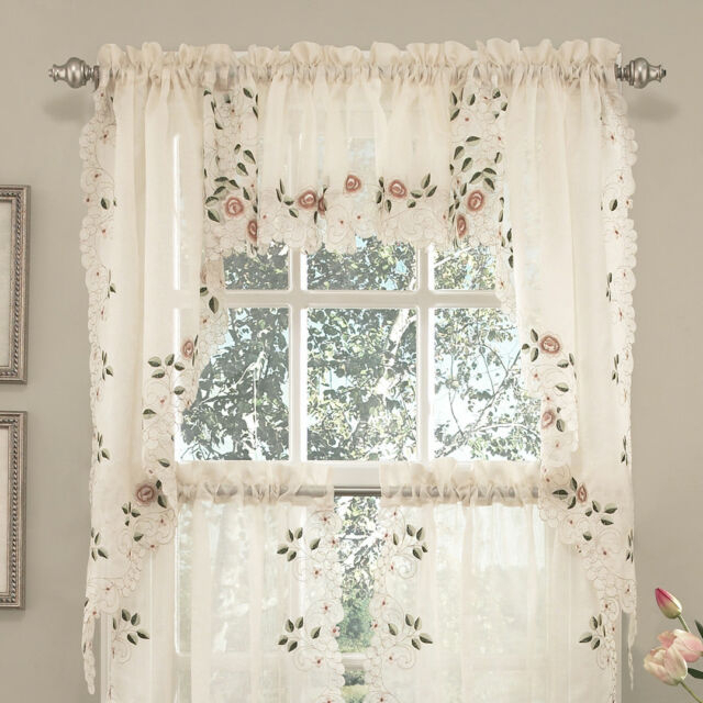 Sweet Home Collection Old World Style Floral Kitchen Curtain Set Of 2 Intended For Semi Sheer Rod Pocket Kitchen Curtain Valance And Tiers Sets (Image 22 of 25)