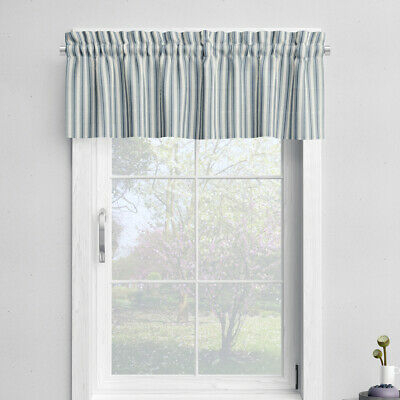 Tailored Valance Cottage Navy Blue Stripe, Lined | Ebay With Navy Vertical Ruffled Waterfall Valance And Curtain Tiers (View 22 of 25)